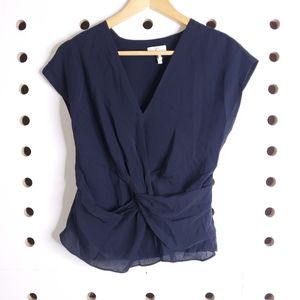 Joie Bosko Silk Knotted Front Top Asymmetrical